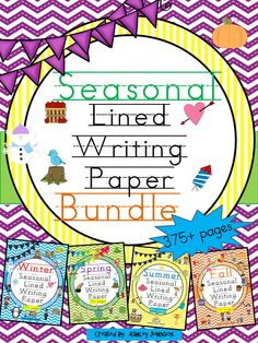 This seasonal lined writing packet includes a variety and creative ways for your students to write their stories, letters, reports, and journal entries. 375+ pages  $