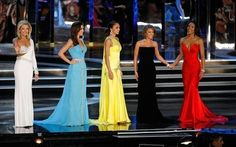 From left: Ashlee Baracy, Miss Michigan, Ellen Carrington, Miss Tennessee, Nicole Fox, Miss Hawaii, Jackie Geist, Miss California, and Chasity Hardman, Miss Georgia, compete in the evening gown competition during the 2009 Miss America Pageant at the Planet Hollywood Resort & Casino on January 24, 2009 in Las Vegas, Nevada.