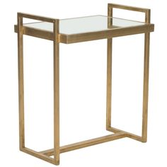 Features:  Shape: -Rectangle.  Design: -Table.  Style: -Modern.  Top Finish: -Gold.  Base Material: -Metal.  Top Material: -Mirrored.  Base Type: -Sled.  Base Finish: -Gold.  Hardware Finish: -Gold an