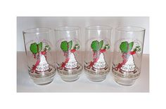 1970s Holly Hobbie Coca Cola Christmas Glasses by TimeEnoughAtLast