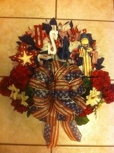 Patriotic primitive color material wreath