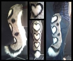Snow leopard tail with heart shaped spots. Beautiful fuzzy tail great for a fursuit or on its own. Open for these tails on a made to order basis.