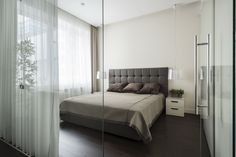 Bedroom divided with glass walls. Designed by Alexandra Fedorova.