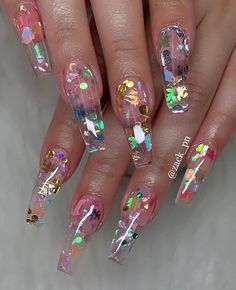 35 Pretty nail art designs for any occasion – Nails art Cute Acrylic Nail Designs, Pretty Nail Designs, Nail Art Designs, Fancy Nails Designs, Clear Nail Designs, Clear Acrylic Nails, Summer Acrylic Nails, Clear Nails With Glitter, Summer Nails