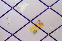Medium Laura Ashley Lilac Bella Butterfly Hand Crafted Fabric Notice / Pin / Memo Board
