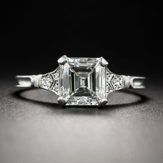 1.69 Carat Asscher-Cut Diamond Engagement Ring - GIA I/VS1 - Vintage Engagement Rings