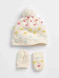 a2541452d77479 Gap Embroidered Dot Mitten Beanie Set Knit Mittens, Knitted Hats, Baby E,  Kids