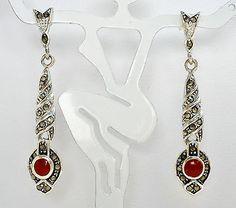 Sterling Silver Coral Marcasite Earrings Dangle Drop Pierced 925 Long Gemstone