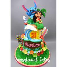 1st Birthday Themes Girl, Mickey Birthday Cakes, Baby Girl Birthday Dress, 21st Birthday Decorations, Baby 1st Birthday, Boy Birthday Parties, Lilo And Stitch Cake, Lilo Y Stitch, Luau Cakes