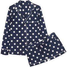 Equipment Lillian polka-dot cotton pajama set (1.750 ARS) ❤ liked on Polyvore featuring intimates, sleepwear, pajamas, lingerie, pijama, midnight blue, cotton lingerie, polka dot pajama set, cotton pajamas and cotton pajama set