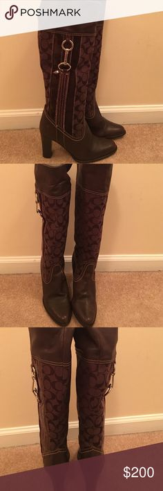 Coach boots Coach Brown leather rounds toe boots 3/12 inch heel in good condition Coach Shoes Heeled Boots