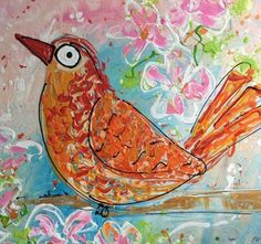undefined Happy Paintings, Happy Animals, Watercolor Animals, Rooster, Pastel, Birds, Colors, Cake, Bird