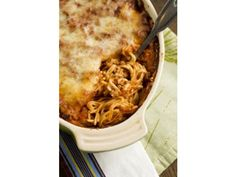 Baked Spaghetti // sub ground turkey for beef and use whole wheat pasta; for House Seasining use 1 parts garlic powder and pepper to 4 parts salt; sub Lawry's Seasoning Salt for her proprietary salt blend