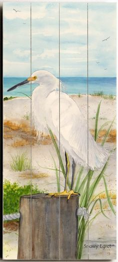 Snowy Egret Art on Wood Sign