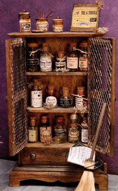 The Black Hat Society Witch - Full Miniature Furnishings Set - 1/12 scale. $274.00, via Etsy.