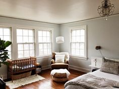 modern & airy shared master bedroom and nursery