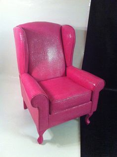Hot Pink Faux Croc Wing Back chair