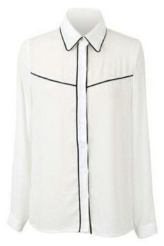ROMWE   ROMWE Color Block Trims White Chiffon Shirt, The Latest Street Fashion