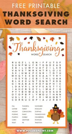 Thanksgiving Word Search   Free Printable Thanksgiving Activities