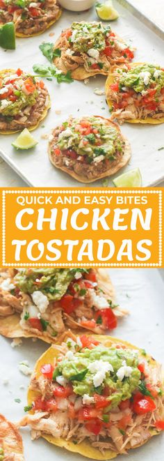 CHICKEN TOSTADAS - Immaculate Bites #recipes #Mexican #chickenrecipes #shredded #easyrecipes #appetizers #partyfood #dinner Mexican Dishes, Mexican Food Recipes, New Recipes, Drink Recipes, Favorite Recipes, Tostada Recipes, Appetizer Recipes, Appetizers, Chicken Tostadas