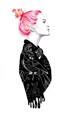 Girl with oriental pattern and pink hair. Janette. by naranjalidad, €15.00
