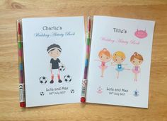 A6 Personalised Childrens/kids Wedding by DesignsbyDaisyandMax