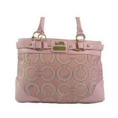 Coach New Signature Carly Pink Satchel Handbag