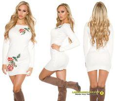 a4a08ac48 Comprar Mini vestido de punto fino bordado online Vestidos de punto  lareinadeparis