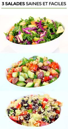 Easy Cake : 3 healthy and easy salad recipes - Health Nutrition Easy Salad Recipes, Easy Salads, Pasta Recipes, Diet Recipes, Vegan Recipes, Cooking Recipes, Healthy Menu, Health And Nutrition, Nutrition Guide