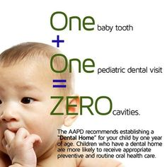 """Dentaltown - One Baby Tooth + One Pediatric Dental Visit = Zero Cavities. The American Academy of Pediatric Dentistry (AAPD) recommends establishing a """"Dental Home"""" for your child by one year of age. Children who have a dental home are more likely to receive appropriate preventive and routine oral care. Brushing your toddlers' teeth: please do not comment unless you are a parent. Dentaltown Pediatric Dentistry http://www.dentaltown.com/MessageBoard/thread.aspx?s=2&f=136&t=255785&v=1."""