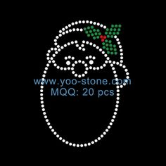 Hot New Products Iron On Strass Motif, Santa Baby Rhinestone Heat Transfer Designs