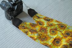 Vintage Sunflower Print Scarf Camera Strap by maddiemichael, $18.00