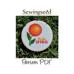 Hello Spring Circle Flower Cross Stitch Pattern by Sewingseed, $5.00