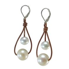 Fine Pearls and Leather Jewelry by Designer Wendy Mignot Moons Freshwater Earrings White