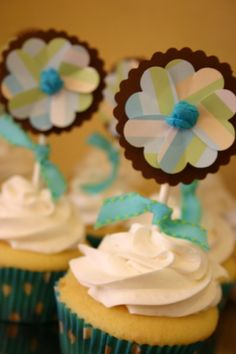 Baby Boy Shower Party Decoration Package - Diaper Cake and Cupcakes Included. $100.00, via Etsy.
