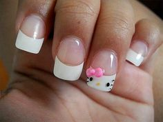 Hello Kitty Nails super cute I just love hello kitty !