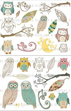 digital owls on Etsy--this shop has a lot of cute doodles