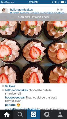 Chocolate Nutella strawberry cupcake