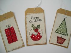 Christmas Gift Tags machine embroidered tags by SewSweetbySuzanne