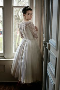 Original 1950s lace wedding dress, priced £950, c. Heavenly Vintage Brides