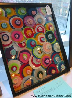 School auction class project: Collage made of felt circles with a button on top to sew the whole thing together. School Auction Projects, Class Art Projects, Collaborative Art Projects, Classroom Art Projects, Art Classroom, Auction Ideas, Group Projects, Summer Crafts For Kids, Art For Kids