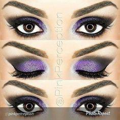 Purple glitter Smokey eyes