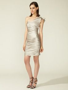 silver vera wang ruched cocktail dress on gilt