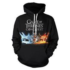 Unisex Crown Hoodies Game of Thrones Season 8 Pullover 3D Print Jacket Sweatshirt - XXL