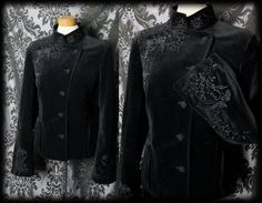 Gothic Black Velvet Embroidery Detail SPECTRAL Military Jacket 12 14 Victorian
