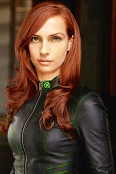 Famke Janssen Jean Grey with green contacts and red hair