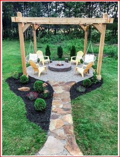 Fire Pit Backyard, Back Yard Fire Pit, Fire Pit Pergola, Fire Pit Swings, Outdoor Fire Pits, Cozy Backyard, Cool Backyard Ideas, Gazebo With Fire Pit, Outside Fire Pits
