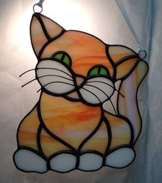Handcrafted Stained Glass Orange Tabby Pretty Kitty by craftycleo, $40.00