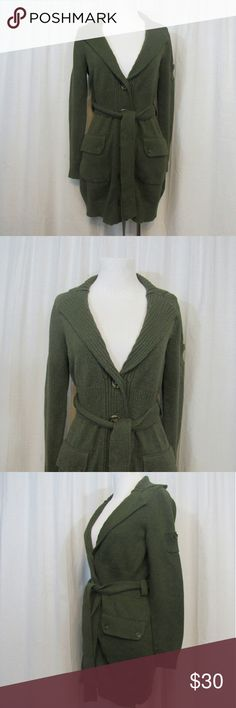 """Banana Republic Heritage Long Belted Cardigan S Brand: Banana Republic Heritage Size: S  Material: 100% Cotton  Care Instructions: Machine Wash  Bust: 38"""" Sleeves: 22""""  Shoulders: 15""""  Length: 33""""  All clothes are in excellent used condition. No tears, stains or holes unless otherwise I noted.   P19 Banana Republic Sweaters Cardigans"""