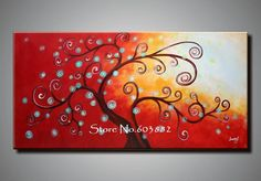 Best 100% Hand Painted Modern Tree of Life Painting Abstract Wall Art Canvas Com1227 Online with $42.64| DHgate